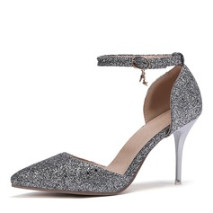 Women's Leatherette Stiletto Heel Sandals Pumps Closed Toe With Sequin shoes