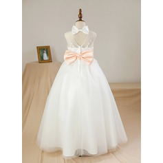 Ball Gown Floor-length Flower Girl Dress - Satin/Tulle Sleeveless Scoop Neck With Sash/Appliques/Bow(s)/Back Hole