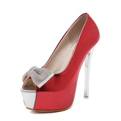 Women's Leatherette Stiletto Heel Sandals Peep Toe With Rhinestone Bowknot shoes