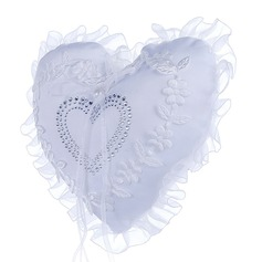 Heart Shaped Ring Pillow in Cloth With Faux Pearl/Lace