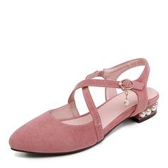 Donna Camoscio Tacco basso Ballerine con Perla scarpe