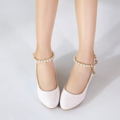 Girl's Closed Toe Leatherette Low Heel Pumps Flower Girl Shoes With Imitation Pearl