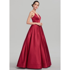 Ball-Gown V-neck Floor-Length Satin Prom Dresses (018147708)