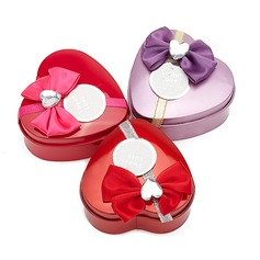 """Sweet Love"" Heart-shaped Favor Tin With Bow"