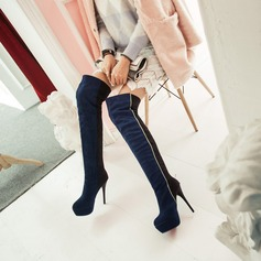 Women's Suede Stiletto Heel Pumps Platform Boots Over The Knee Boots With Split Joint shoes