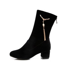 Women's Suede Low Heel Mid-Calf Boots shoes