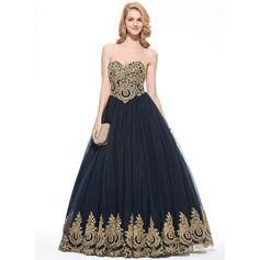 Ball-Gown Sweetheart Floor-Length Tulle Prom Dress With Appliques Lace (018075883)