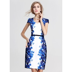 Polyester/Cotton With Print Above Knee Dress (199087175)