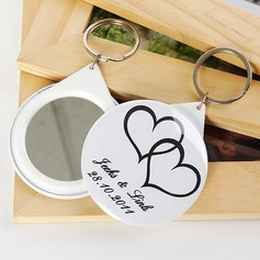 Personalized Double Hearts Plastic Keychains/Compact Mirror