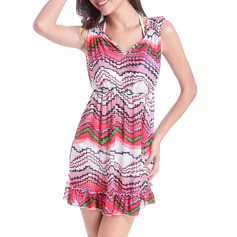 Beautiful Floral Polyester Spandex Cover-ups