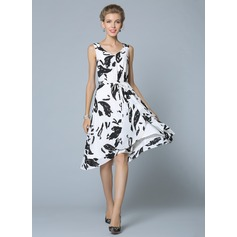 Polyester/Chiffon With Print Knee Length Dress (199086998)