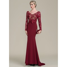 Trumpet/Mermaid V-neck Sweep Train Lace Jersey Mother of the Bride Dress