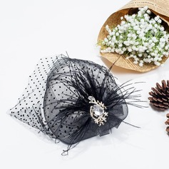 Gorgeous Net Yarn/Feather Fascinators With Rhinestone