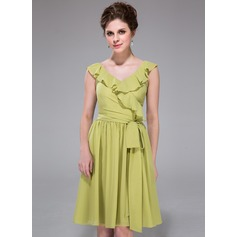 A-Line/Princess V-neck Knee-Length Chiffon Bridesmaid Dress With Bow(s) Cascading Ruffles