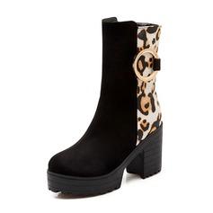 Mulheres Camurça Salto robusto Botas com Divisão separada sapatos