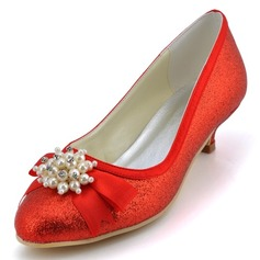 Women's Sparkling Glitter Cone Heel Closed Toe Pumps With Bowknot Imitation Pearl
