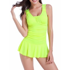 Sexy Solid Color Polyester Spandex Swimdresses