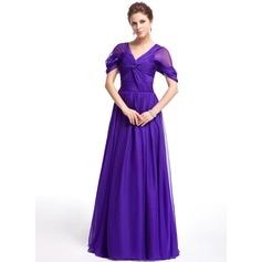 A-Line/Princess Off-the-Shoulder Floor-Length Chiffon Evening Dress With Ruffle