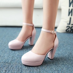 Women's Leatherette Chunky Heel Sandals Pumps Closed Toe With Buckle shoes