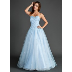 Ball-Gown Sweetheart Floor-Length Organza Prom Dress With Beading