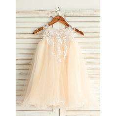 Empire Knee-length Flower Girl Dress - Tulle/Lace Sleeveless Jewel