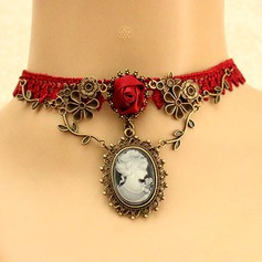 Fashional Alloy Lace Gem With Imitation Pearl Lace Gem Ladies' Fashion Necklace