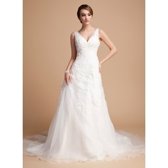 A-Line/Princess V-neck Chapel Train Satin Organza Wedding Dress With Ruffle Beading Appliques Lace