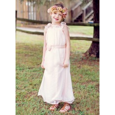 A-Line/Princess Ankle-length Flower Girl Dress - Chiffon/30D Chiffon Sleeveless Scoop Neck With Lace/Sash/Flower(s)