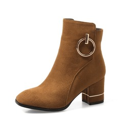 Women's Suede Chunky Heel Pumps Boots Ankle Boots shoes