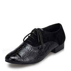 Men's Leatherette Suede Flats Latin Ballroom Practice Character Shoes With Lace-up Dance Shoes