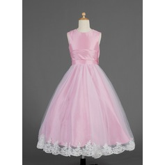 A-Line/Princess Ankle-length Flower Girl Dress - Taffeta/Tulle Sleeveless Scoop Neck With Lace/Bow(s)