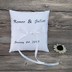 Square Ring Pillow in Satin With Ribbons (103105729)