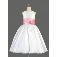 Empire Tea-length Flower Girl Dress - Taffeta/Charmeuse Sleeveless Scoop Neck With Sash/Flower(s)/Bow(s)