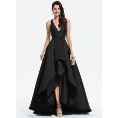 A-Line V-neck Asymmetrical Satin Prom Dresses With Cascading Ruffles (018175929)