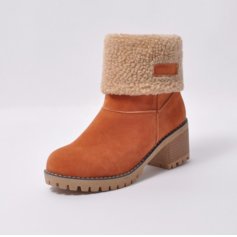 Women's Suede Chunky Heel Pumps Closed Toe Boots Ankle Boots Snow Boots With Fur shoes