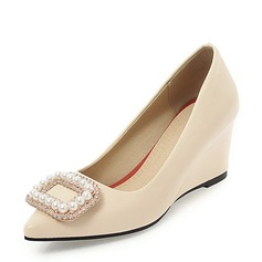 Women's PVC Wedge Heel Wedges With Rhinestone Imitation Pearl shoes
