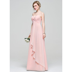 Empire Halter Floor-Length Chiffon Bridesmaid Dress With Cascading Ruffles