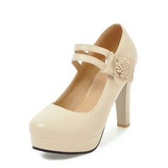 Women's Leatherette Stiletto Heel Pumps Platform With Flower shoes