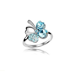Flower Shaped Alloy With Imitation Crystal Ladies' Fashion Rings