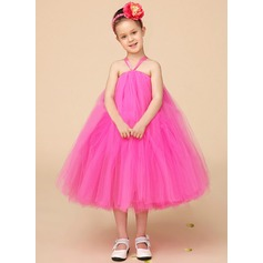 Empire Tea-length Flower Girl Dress - Tulle Sleeveless Halter With Bow(s)