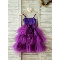 Empire Knee-length Flower Girl Dress - Tulle/Sequined Straps With Bow(s)