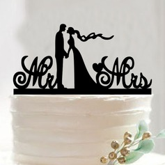 Classic Couple/Mr. & Mrs. Acrylic Cake Topper (Sold in a single piece)