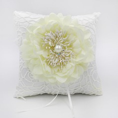 Elegant Rose Ring Pillow in Lace/Cloth With Flowers