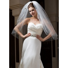 Two-tier Elbow Bridal Veils With Cut Edge
