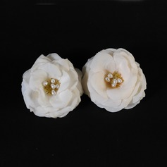 Stylish Artificial Silk Flowers & Feathers With Venetian Pearl (Set of 2)