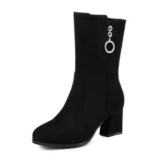 Women's Leatherette Chunky Heel Boots Mid-Calf Boots shoes
