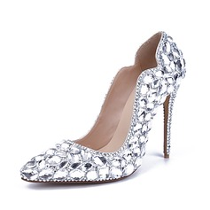 Women's Patent Leather Chunky Heel Closed Toe Pumps With Rhinestone Crystal Heel