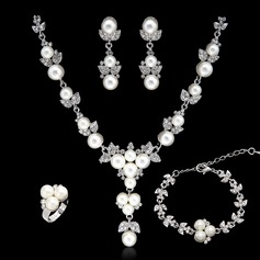 Attractive Alloy/Pearl/Platinum Plated With Rhinestone Ladies' Jewelry Sets