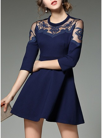 Cotton Blends With Lace/Stitching/Embroidery/See-through Look Above Knee Dress