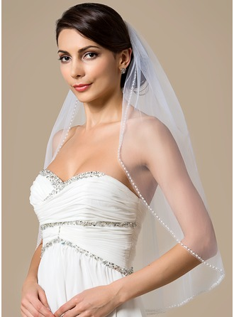 One-tier Elbow Bridal Veils With Pearl Trim Edge